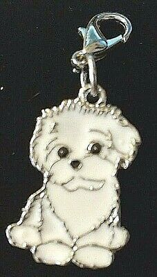 White Maltese Bichon Dog Pup Bag Purse Charm Dangle Zipper Pull Jewelry