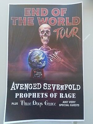 Avenged Sevenfold End of the World 2018 11x17 promo tour concert poster tickets