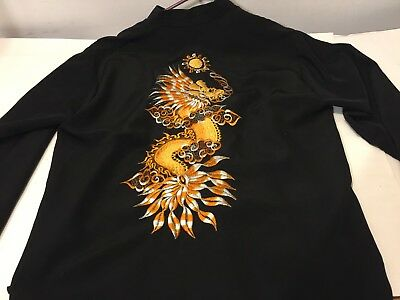 "Vietnam Size ""m"" Outstanding Oriental ""gold Dragon"" Traditional Jacket Shirt !!"