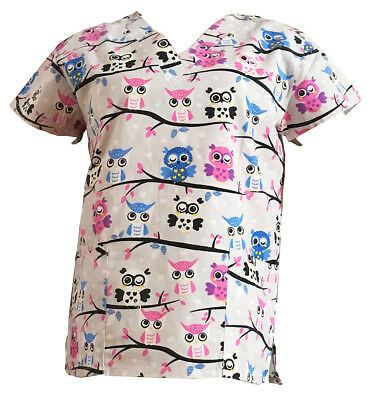 Women's Fashion Medical Nursing Scrub Tops Light Gray Base Owls XL