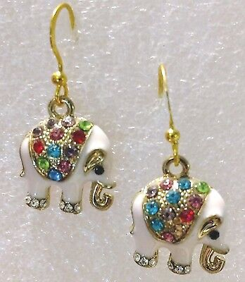 Earrings Elephant Pale Pink Enamel Multi Color Crystal Drop Gold Hook Earrings