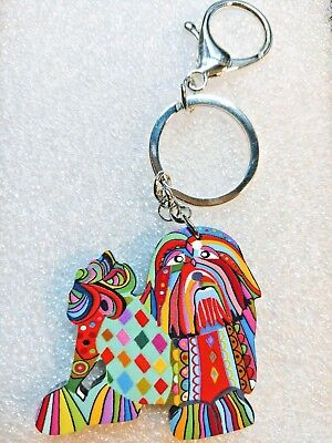 Shih Tzu Dog Pup Jewelry Acrylic Key Ring Multicolor Keychain