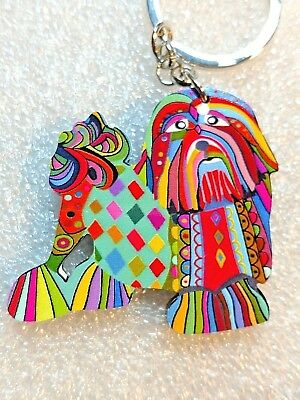 Lhasa Apso Dog Pup Acrylic Key Ring Multicolor Keychain Jewelry