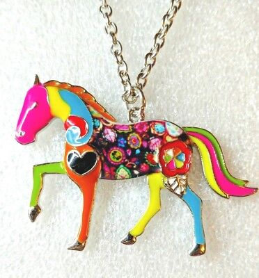 "Large Standing Horse Enamel Alloy Pendant Necklace Multicolor 18"" Jewelry"