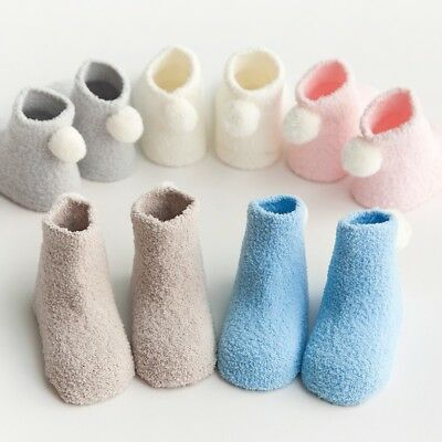 3 Pairs/Set Baby Kid Winter Thicken Soft Warm Breathable Coral Fleece Socks 0-3Y