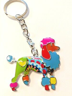 Large Poodle Dog Pup Key Ring Keychain Enamel Alloy Pendant Dangle Multicolor