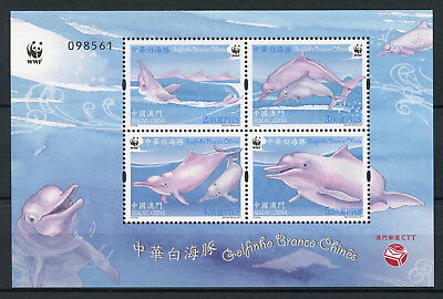 Macau Macao 2017 MNH Chinese White Dolphin WWF 4v M/S Dolphins Stamps