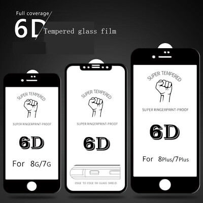 6D Curved Full Tempered Glass Coverage Film Protector For iPhone X 8 6 6s 7 Plus
