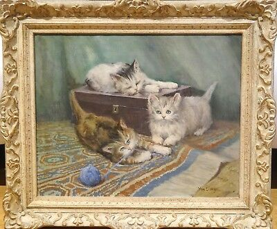 Fine Large Early 20th Century Cats Kittens Playing Portrait Oil Painting Signed
