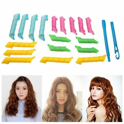 DIY Magic Hair Curlers Portable 18pcs Hairstyle Roller With 2pcs Hooks Sticks AS