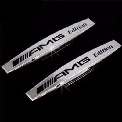 2 X MERCEDES AMG SILVER Side Wing Fender Badge Emblem  C E A S SL SLK CLASS