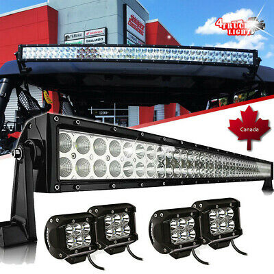 "DOT 42inch Curved Led Light Bar+2x 4"" Led Pods For Pioneer 1000 Deluxe UTV ROOF"