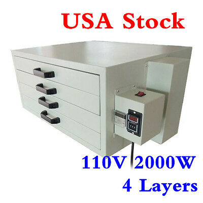 USA! 110V 2000W 4 Layers Screen Printing Drying Cabinet Drying Area 25 x 21in