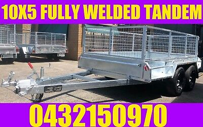 10x5  tandem trailer fully welded galvanised with cage crate box trailer