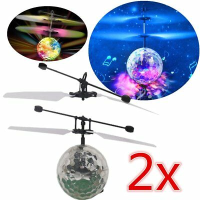 2x Infrared Induction Flying Flash Disco Colorful LED Ball Helicopter Child LI