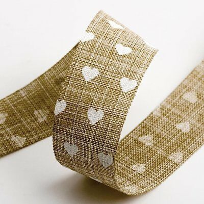 Love Hearts Natural Linen Ribbon - 25mm x 15m Rustic Shabby Chic Vintage