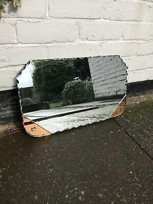 Art Deco Mirror Glass Mirror With Peach Colour Panels Mirror