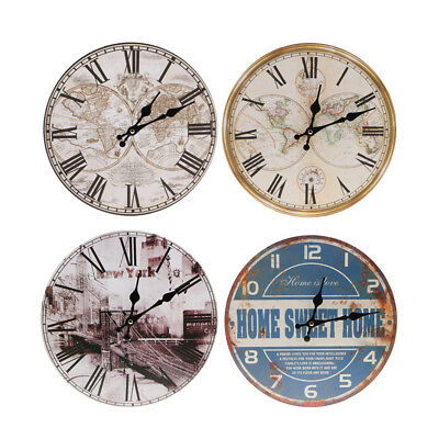 Vintage Rustic Wooden Wall Clock Antique Shabby Chic Home Kitchen Decor