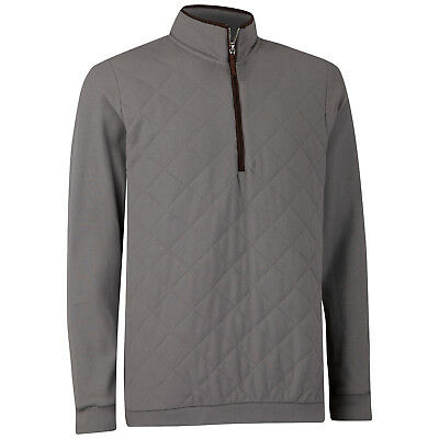 Ashworth Pima Cotton Quilted Pique Half-Zip Pullover Grau 50% !!! UVP € 100,00