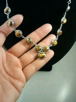 Very nice sterling 925 tiger eye links necklace pendant vintage