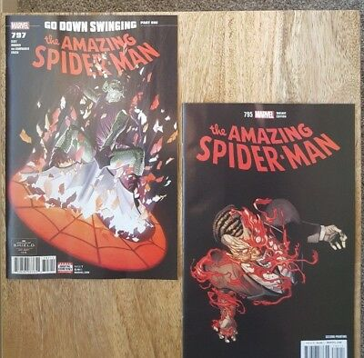 AMAZING SPIDER-MAN #797 1st print and #795 2nd print TWO book lot unread NM