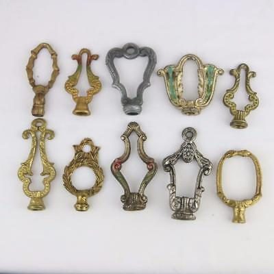 10 Antique Art Deco Lamp Finials Bronze 1930s VTG Chandelier Fixture Slip Shade