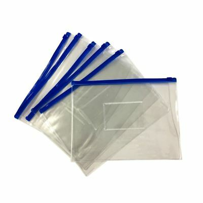 12 x A5 Blue Zip Zippy Bags -Document Clear Plastic Transparent Storage bag N9Z6