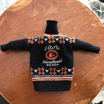 Tito's Handmade Vodka Sweater 750 ml Bottle Cover Fits Barbie Doll Booze Hound