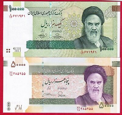 Lot of Two Iran Banknotes - 1 X 100,000 & 1 X 50,000 Rials UNC Free Shipping