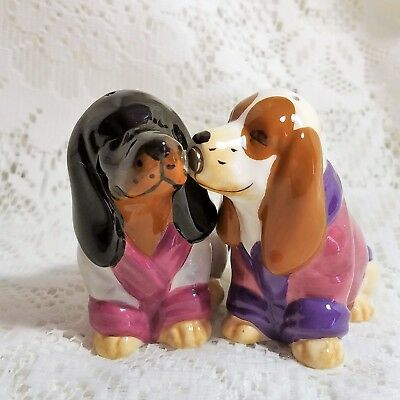 Basset Hound Magnetic Salt and Pepper Shakers Westland Wearing Robes Set of 2
