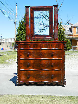 Circa 1830 Feathered Mahogany Empire Serpentine Front  Dresser with Mirror