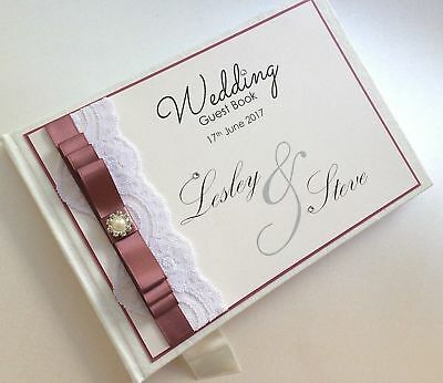 Personalised Wedding Guest Book, lace & diamantes.ROSE GOLD available!ANY COLOUR