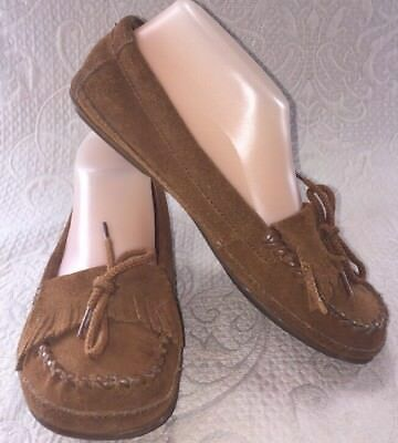 MINNETONKA Women 6.5  Moccasins Brown Fringe Shoes Slip-On Leather Suede Slipper