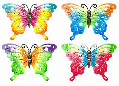 Set Of 4 Metallic Rainbow Butterfly Garden Wall Ornaments Metal Butterflies
