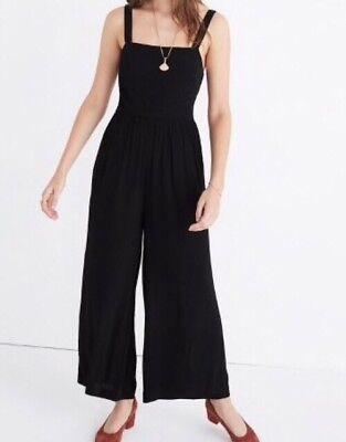 Sold Out Madewell Black Apron Bow Back Jumpsuit 00 Xxs 8500