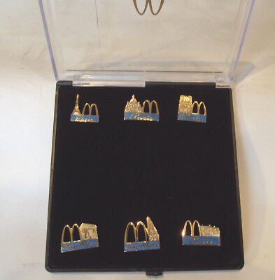 Vintage McDonalds French Champs Pin Badge Set in Plastic Case