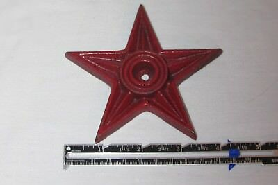 """Vintage 4 1/4"""" Cast Iron Metal Architectural Masonry Star Washers Red"""