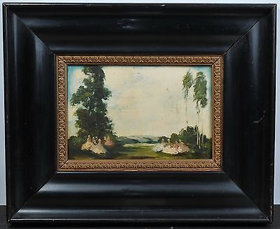 Antique Impressionism 18th-19th Century Oil Painting on Wood