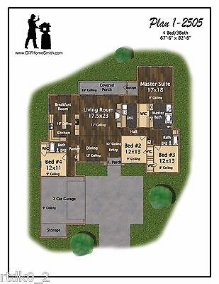 Custom Home House Plan 2,505 SF Blueprint Plans