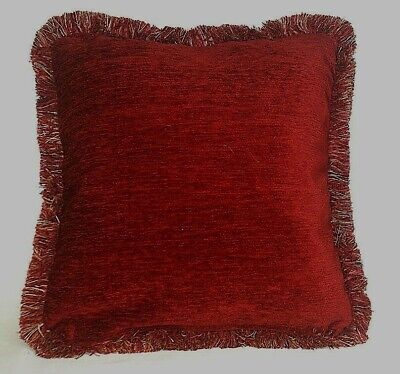 Large Solid Red Chenille Fringe Decorative Throw Pillow For Sofa