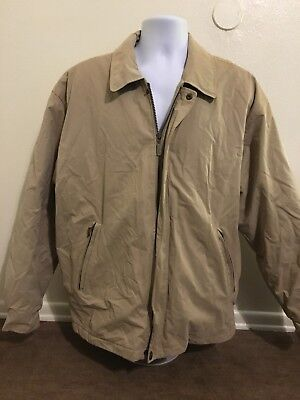 75c09316e ROUNDTREE YORKE KHAKI Jacket Coat Outdoors Zip Up Lined Men Size Large  Classic