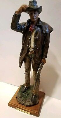 Vintage Carved Resin Standing Cowboy Figurine Holding Rifle Western Collectible