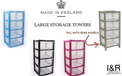 Iu0026R Plastic Storage Towers 4 Tier Drawer Tall Large Deep Drawers Stackable Units  sc 1 st  PicClick UK & Iu0026R PLASTIC STORAGE Towers 4 Tier Drawer Tall Large Deep Drawers ...