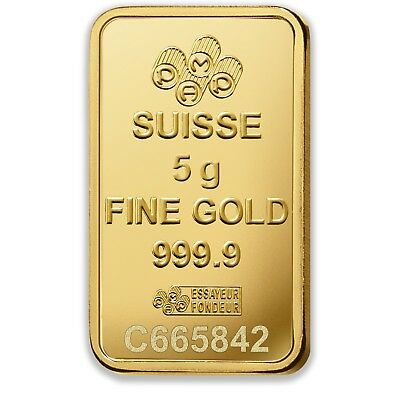 PAMP Suisse Fortuna 5g Gram Fine Gold Bar Bullion 999.9