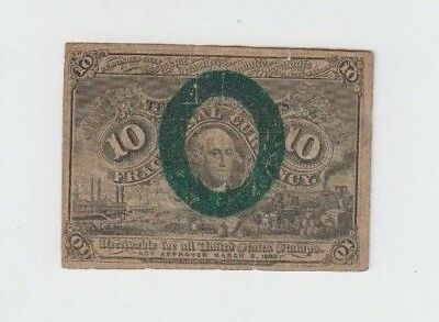 10 Cent Second Issue George Washington Fractional Currency Note Paper Bill