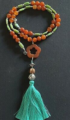 "Chrysoprase and Carnelian Y Lariat 40"" Tassel silver plated flower necklace"