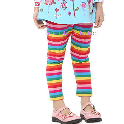 NEW with tags BNWT girls 3/4 length rainbow pants leggings size 2 3 4 5 6 7