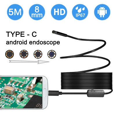 2in1 5M Rigid Cable USB C Endoscope Type C Borescope Inspection 8mm Snake Camera