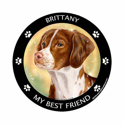 My Brittany Is My Best Friend Dog Car Magnet