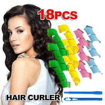 "18Pcs Magic Hair Curlers Spiral Curls Rollers Diameter 2.5cm/1"" DIY Hair Tool"